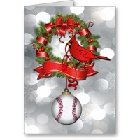 Silver Bokeh Baseball Christmas Wreath with Red B Cards