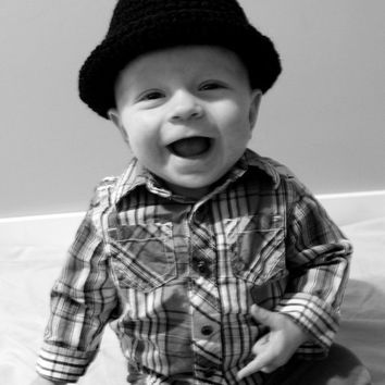 Black Fedora Hat for Baby to Adult by makinitmama on Etsy