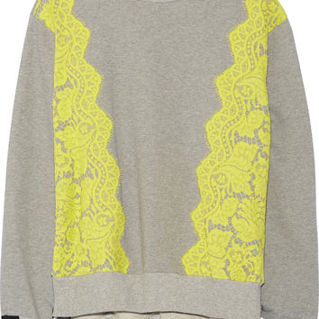 Preen by Thornton Bregazzi - Gresham lace-trimmed cotton-jersey sweatshirt