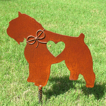 Bouvier Des Flandres Dog Metal Garden Stake - Metal Yard Art - Metal Garden Art - Pet Memorial