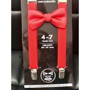 2019 Red Boys Suspender Bow Tie set
