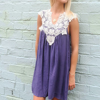 Barcelona Crochet Neck Sleeveless Indigo Sundress