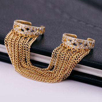 Chain Layer Double Cuff Ring