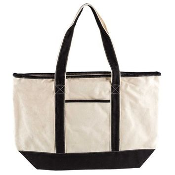 Natural & Black Large Canvas Tote with Zipper | Shop Hobby Lobby