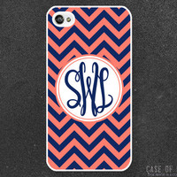 iPhone 4 Monogram Case  - Monogrammed Initials Name Custom Personalised Zig Zag Chevron Pattern - iphone4 4s - Nautical Blue Coral 1015