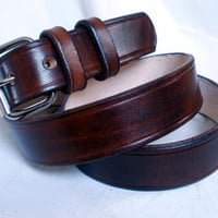 "Lakeside Leather — Brown leather belt, men, 1.25"", steel buckle, 2 fixed loops"