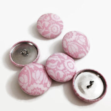 "Set of 6 - 1"" Cotton Fabric Buttons with Wire Backs - Pink Floral Paisley Handmade"