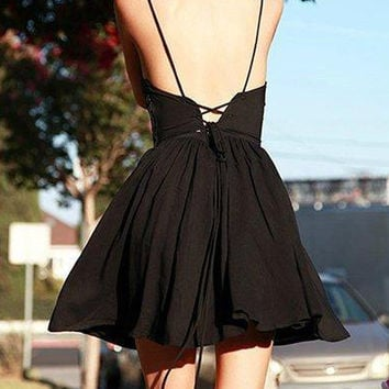 Black V-neck Spaghetti Strap Lace Up Back Skater Mini Dress
