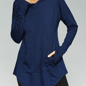 Purplish Blue Front Pocket Thumb Hole Hoodie