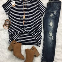 Striped Knotted Top: Navy