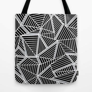 Ab lines Zoom Black and Silver Tote Bag by Project M