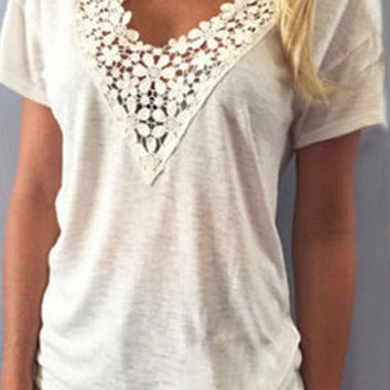 White V-Neck Lace Short Sleeve T-Shirt