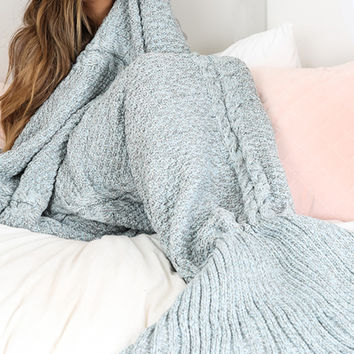 ♡Blue Grey Mermaid Blanket Tail  ♡