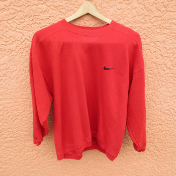 Vintage Nike Red Basic Crewneck Sweatshirt Unisex  Women S Men XS