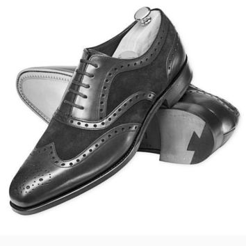 Wakeby Wolf Formal Black Brogue Wingtip Suede & Genuine Leather Shoes