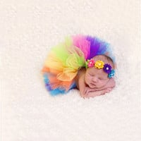 Rainbow Tutu with Matching Headband for Newborn Baby Girl