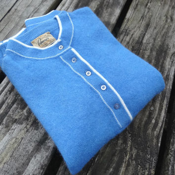 "1950s Blue Sweater Angora & Lambswool Vintage WPL by Penney's Small Bust 34"" Waist 24"""
