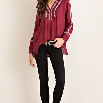 Embroidery Pin-Tuck Detail Blouse
