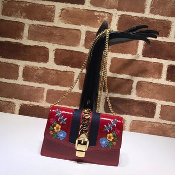 Gucci Sylvie leather embroidered mini chain bag