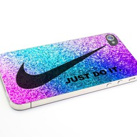 Heru - Just Do It Nike Pink Glitter for Iphone 4 4s 5 5s 5c 6 6plus Case (iphone 4/4s white)