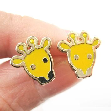 Simple Giraffe Shaped Animal Stud Earrings in Yellow | DOTOLY