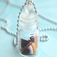 Cheesecake Slices in a Jar Necklace