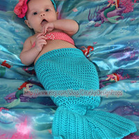 Disney Crochet Ariel The Little Mermaid Costume - Cocoon Tail, Flower Headband, Bandeau style Bikini Top - photo prop - for newborn to 2 mo