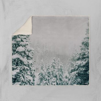 Colorado Winter Scene Sherpa Fleece Blanket - 2 Sizes