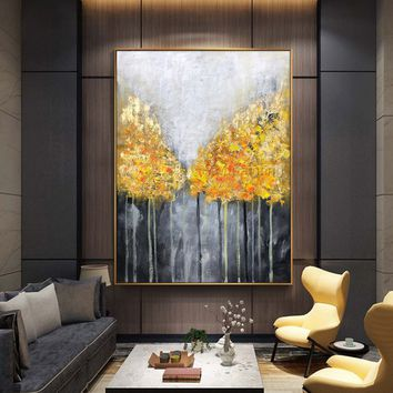 Original Tree acrylic paintings on Canvas forest heavy texture impasto Abstract extra large gold leaf Wall Art Pictures room Decor