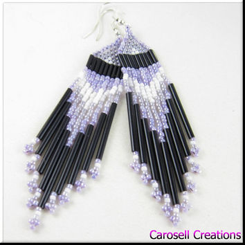 Native American Indian Style Beadwork Seed Bead Earrings Purple, Black, Gray and White