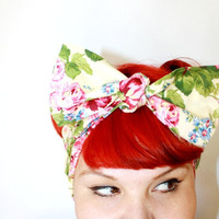 Bow hair tie Yellow with Roses Rockabilly Retro by OhHoneyHush