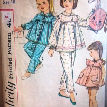 Simplicity 3690 Pattern for Girls Pajamas & Rabbit Pillowcase, Size 10, Early 1960s or 1950s