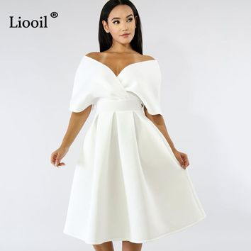 Liooil Sexy Club Backless Large Swing Summer Dress Women Fashion Short Sleeve V Neck Zipper Loose White Midi Woman Party Dresses