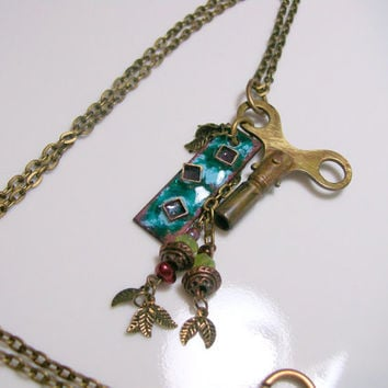 Clock Key and Enamel Charm Necklace Necklace Handmade Teal, Blue and Purple Enamel Charm Long Necklace Beaded Tassels and Large Clock Key