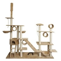 "Oxgord, 96"" Cat Tree, Tan & White"