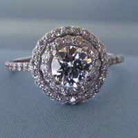 Beautiful Double Halo Engagement Diamond Ring.