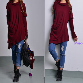 Solitude - thumb hole shirt / asymmetrical knit tunic dress / deconstructed boho tunic / hippie tunic dress / malsala rib tunic (Y1535)