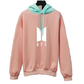KPOP BTS Bangtan Boys Army  Women Hoodies New   Boys Contrast Pastel Color Pink Sweet Girl's Sweatshirts Fleece Winter Thick Outwear Top AT_89_10