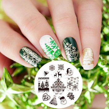 MDIGHY3 1 Pc Christmas XMAS Snowflake Heart Nail Art Stamp Stamping Template Plate BORN PRETTY Nail Stamping Plate  #01 Nail Tool