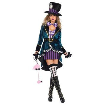 alice in wonderland johnny depp mad hatter costume adult Outfit Fancy Dress Fantasias halloween costumes for women plus size