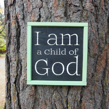 "Joyful Island Creations ""I am a child of God"" wood sign, black and mint sign, wood framed sign, nursery sign, kids room sign, gift under 20"