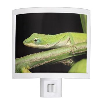 Whimsical Green Garden Anole Lizard Animal Night Light