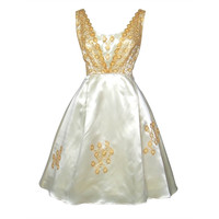 Vintage 1960s Cream Satin & Gold Lace Party Dress