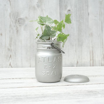 Vintage painted mason jar. Vase or planter. Perfect utensil holder. Atlas mason. Silver planter.