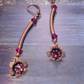 Copper flower earrings -Dangle flower earrings - Swarovski crystal - Copper