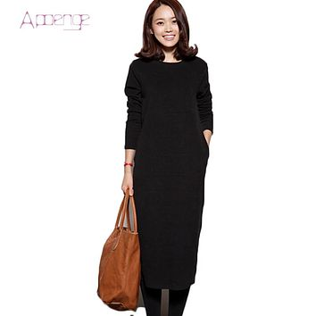 APOENGE New Women Winter Dress Thick Warm Sweatershirts Female Velvet O-Neck Long Dresses Long Sleeve Pullovers LZ580