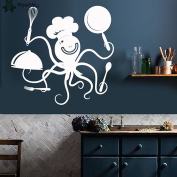 Kitchen Wall Decal Funny Octopus Chef With Pots And Pans Pattern Restaurant Vinyl Wall Stickers Modern Design Animal Decor SY148