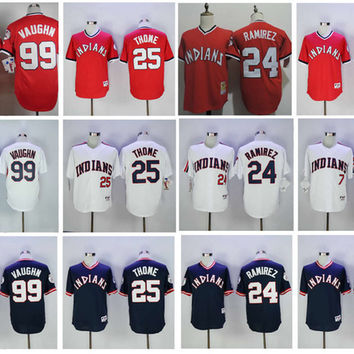 Throwback Cleveland Indians Baseball Jerseys Vintage 99 Rick Vaughn Jersey 7 Kenny Lofton 25 Jim Thome 24 Jose Ramirez Cooperstown Men Cheap