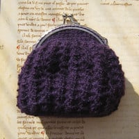 Vintage style purse crocheted lace crochet Metal kiss lock frame - violet purple Alpaca yarn victorian style lolita steampunk gothic