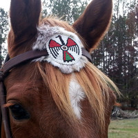 Thunderbird Beaded Equine Browband Ornament with Faux Rabbit Fur -  Native American Style Horse Costume